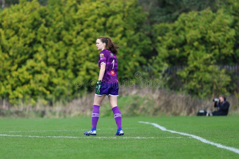 Maeve Williams pendant le match de ligue national des femmes entre les femmes de Cork City FC et le Wexford Youths image libre de droits