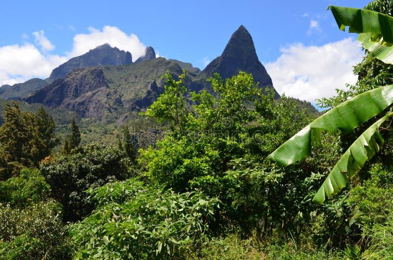 Mafate vulkanische caldera in het Eiland Réunion stock foto