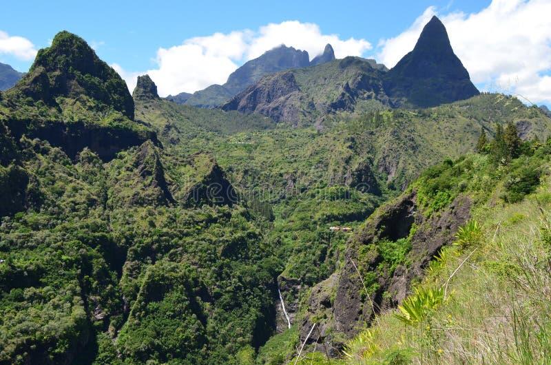 Mafate vulkanische caldera in het Eiland Réunion royalty-vrije stock afbeelding