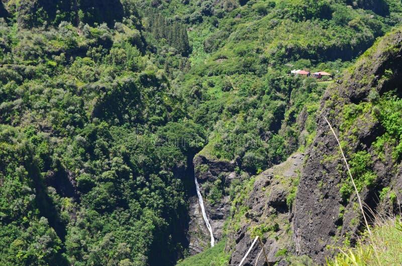 Mafate vulkanische caldera in het Eiland Réunion stock afbeelding