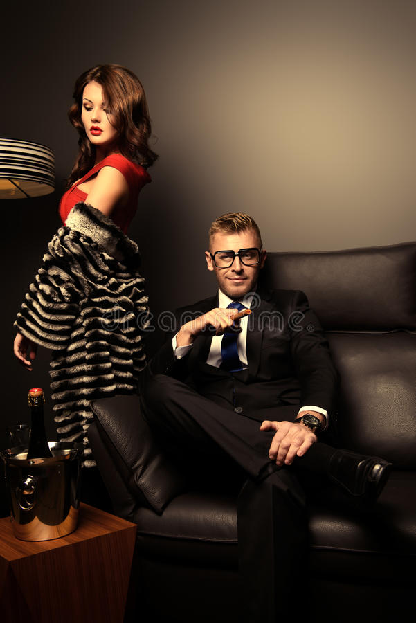 Mafia couple stock photography