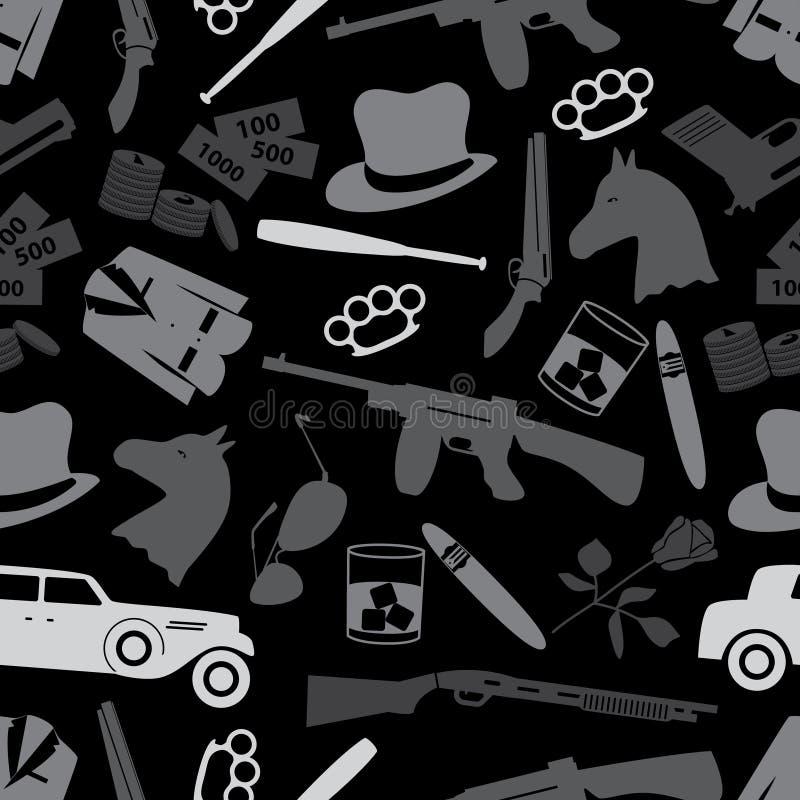 Mafia Criminal Black Symbols And Icons Seamless Pattern Eps10 Stock