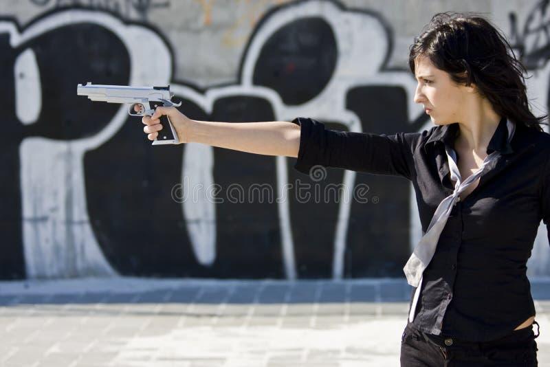 Mafia girl stock photo