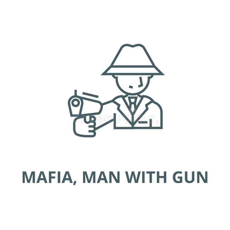 Mafia, homme avec la ligne icône, concept linéaire, signe d'ensemble, symbole de vecteur d'arme à feu illustration de vecteur