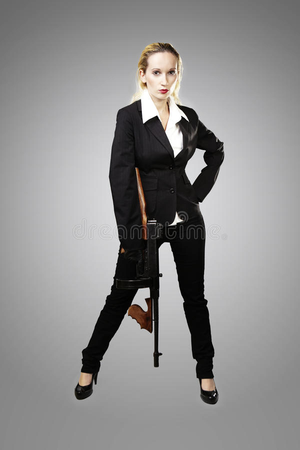 Mafia Lady With Tommy Gun Stock Photo Image Of Pose 45678622