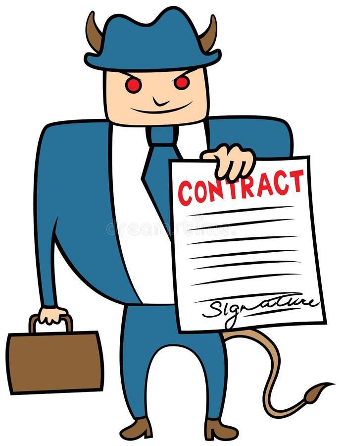 Mafia malvada del loanshark del hombre de negocios con el contrato stock de ilustración