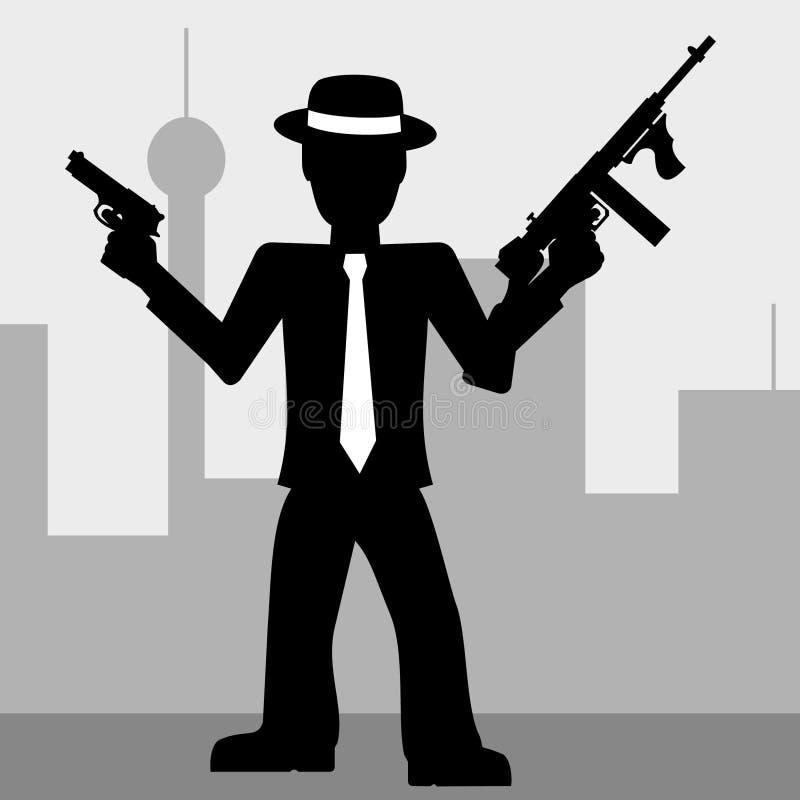Mafia Man With Guns Stock Photo