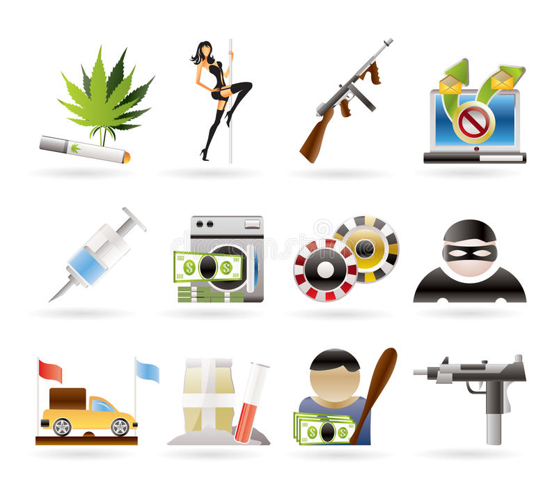 Download Mafia And Organized Criminality Activity Icons Stock Vector - Image: 17369046