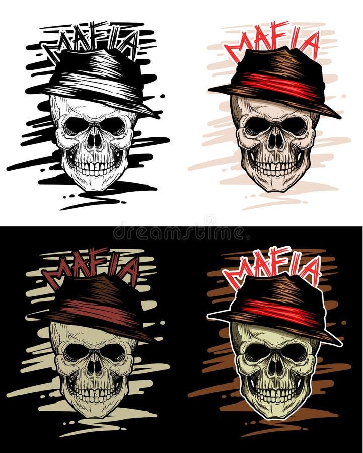 Mafia Skull Head, Gangster Skull, Hand Drawing royalty free illustration