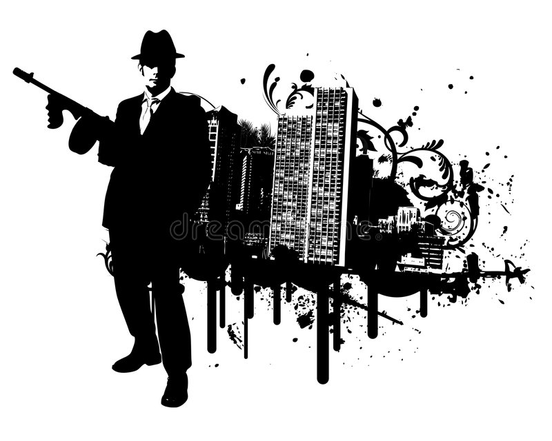 Mafia Town. Grunge mafia man vector illustration royalty free illustration