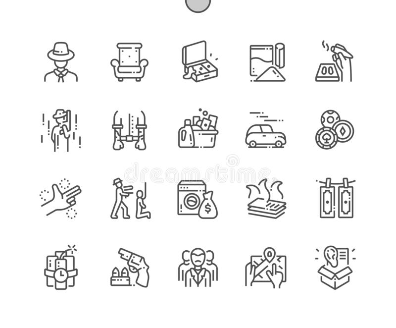 Mafia Well-crafted Pixel Perfect Vector Thin Line Icons 30 2x Grid for Web Graphics and Apps. Simple Minimal Pictogram stock illustration