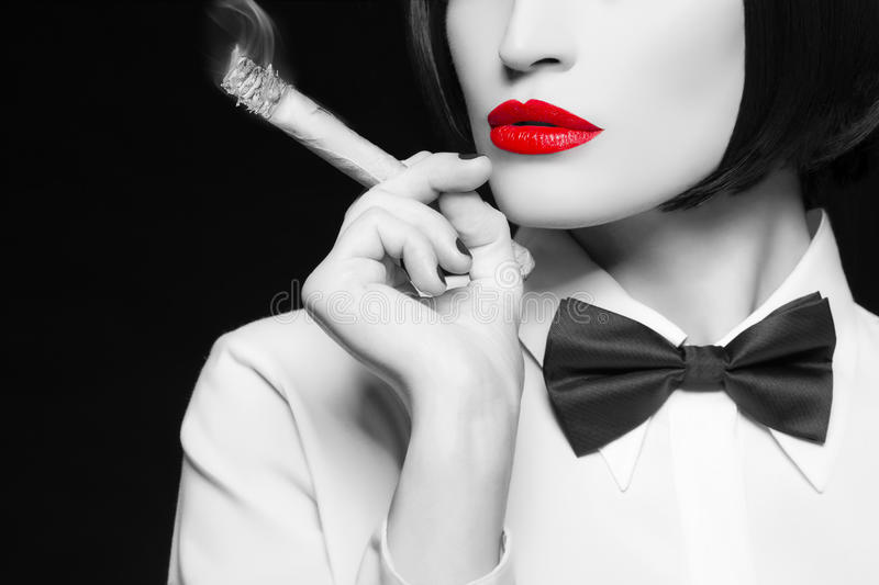 Mafia woman with selective coloring stock image