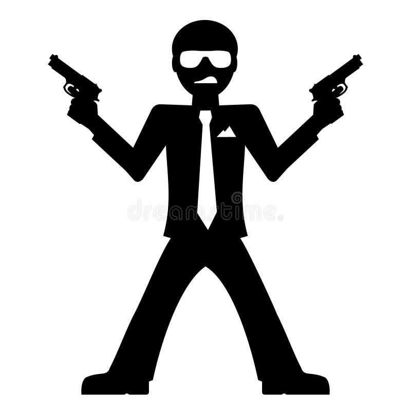 Mafiamann mit Gewehren stock abbildung