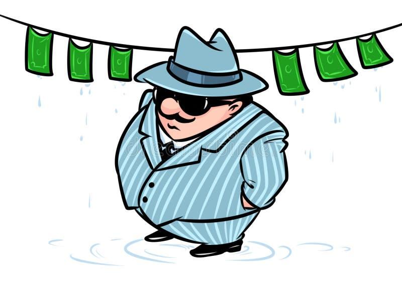 Mafijnego szefa pieniądze pralniczego bandyta oszustwa pieniężna parodia ilustracja wektor
