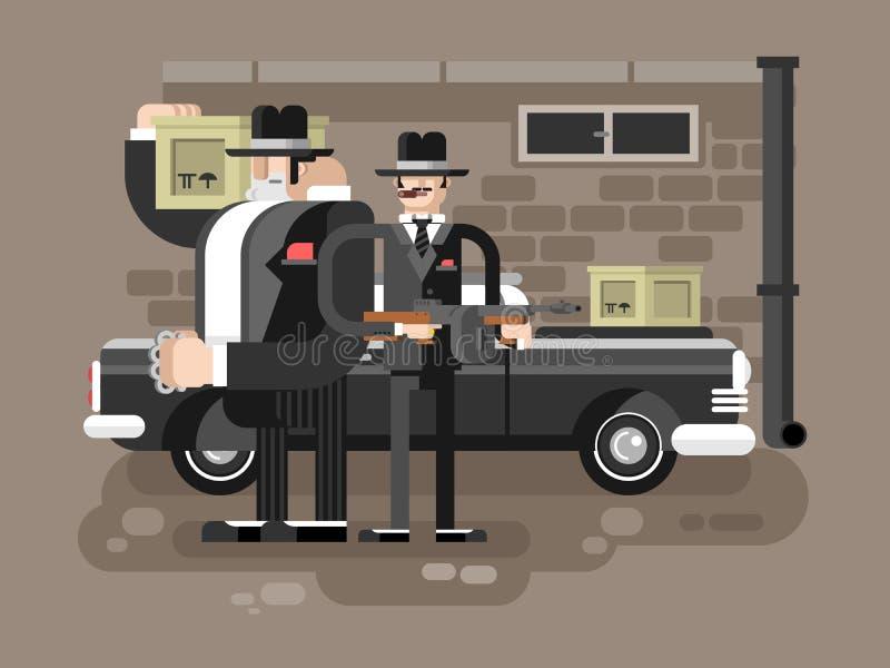 Mafijny mężczyzna charakter royalty ilustracja