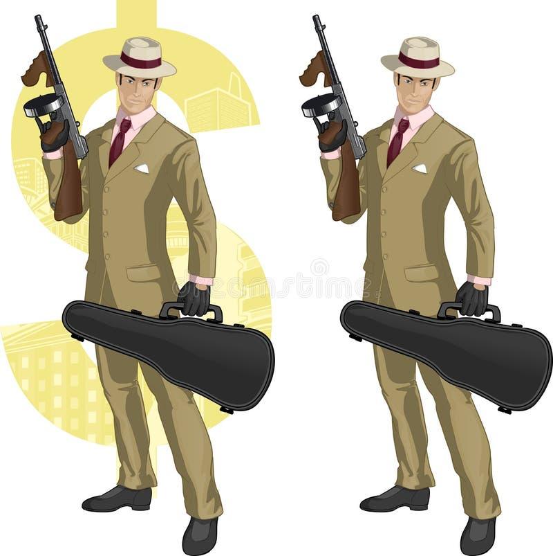 Mafioso latino-americano com desenhos animados da metralhadora ilustração stock