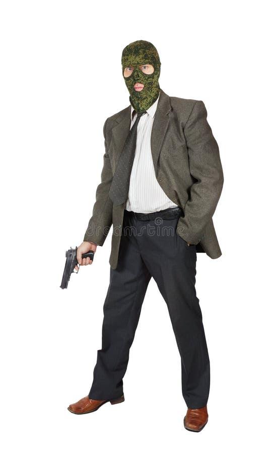 Mafioso med en pistol arkivbilder