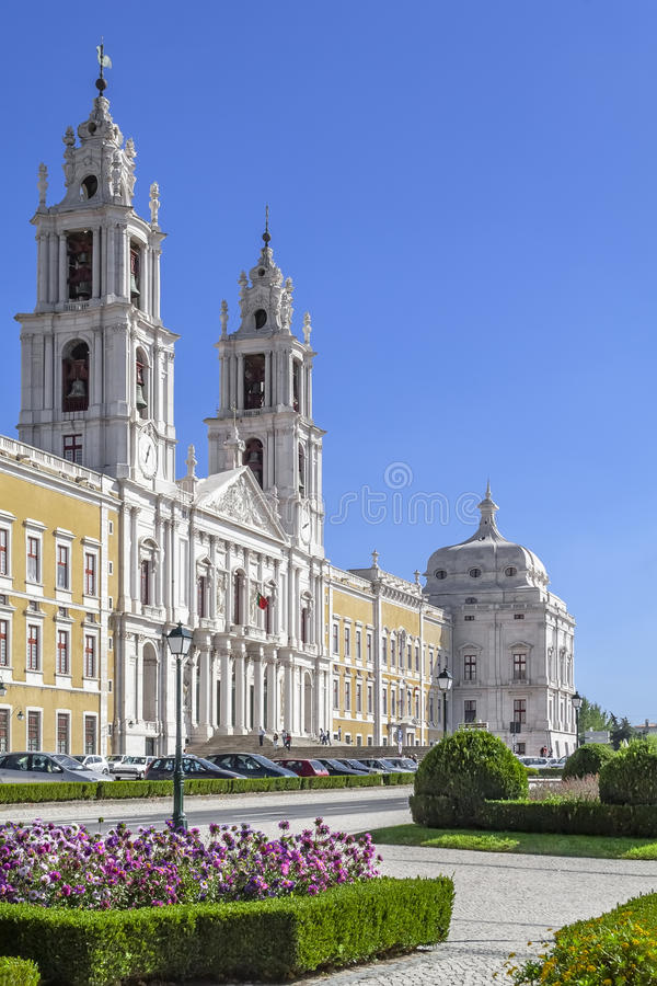 Mafra National Palace. Baroque masterpiece. Mafra National Palace, Convent and Basilica in Portugal. Franciscan Religious Order. Baroque architecture royalty free stock photo