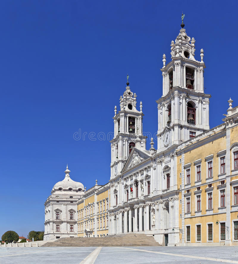 Mafra National Palace. Baroque masterpiece. Mafra National Palace, Convent and Basilica in Portugal. Franciscan Religious Order. Baroque architecture stock photo
