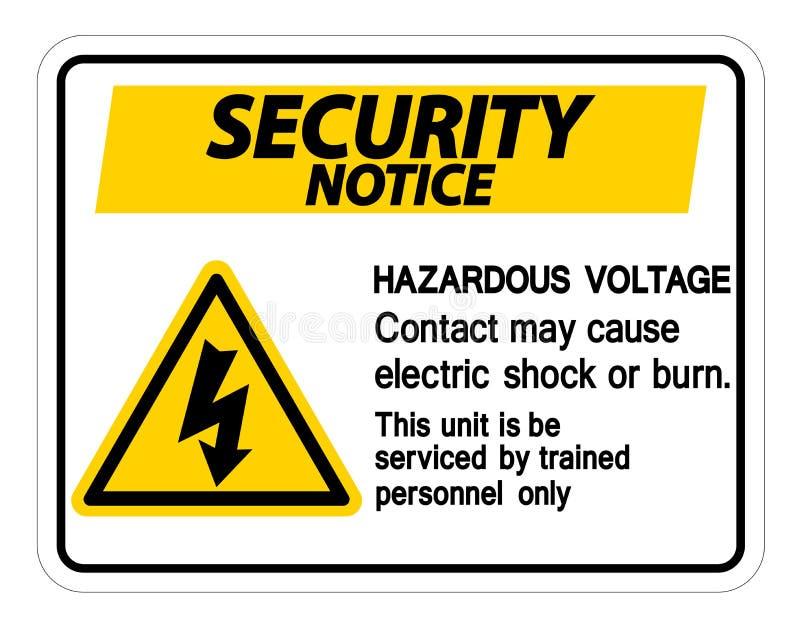 Mag het Gevaarlijke het Voltagecontact van het veiligheidsbericht Elektrische schok of Brandwondteken op Witte Achtergrond, Vecto stock illustratie