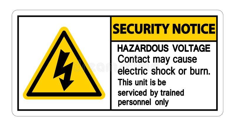 Mag het Gevaarlijke het Voltagecontact van het veiligheidsbericht Elektrische schok of Brandwondteken op Witte Achtergrond, Vecto royalty-vrije illustratie