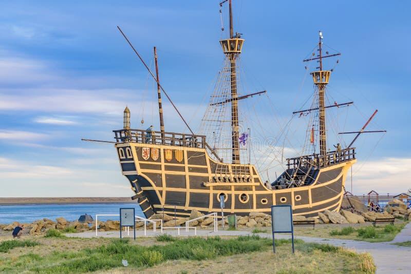 Magallanes statku repliki zabytek, Puerto San Juliański, Argentyna zdjęcia royalty free