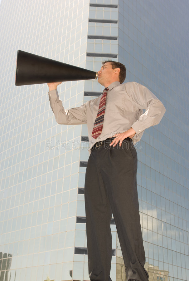 Download Magaphone Man stock image. Image of hirise, downtown, announcing - 5839549