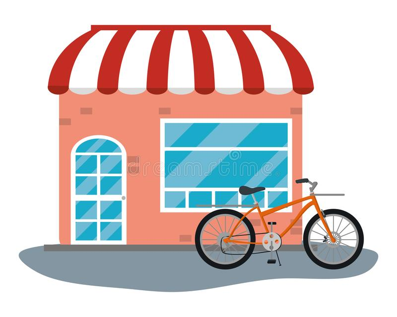 Magasin avec la bicyclette illustration stock