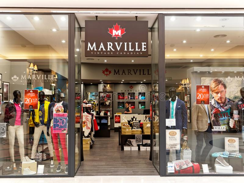 Magasin canadien de vintage de Marville à Rome, Italie image libre de droits