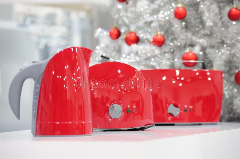 Magasin d'appareils ménagers à Noël photographie stock libre de droits