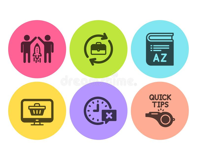 Magasin d'association, de Web et ensemble d'icônes de temps Vocabulaire, ressources humaines et signes de cours Vecteur illustration stock