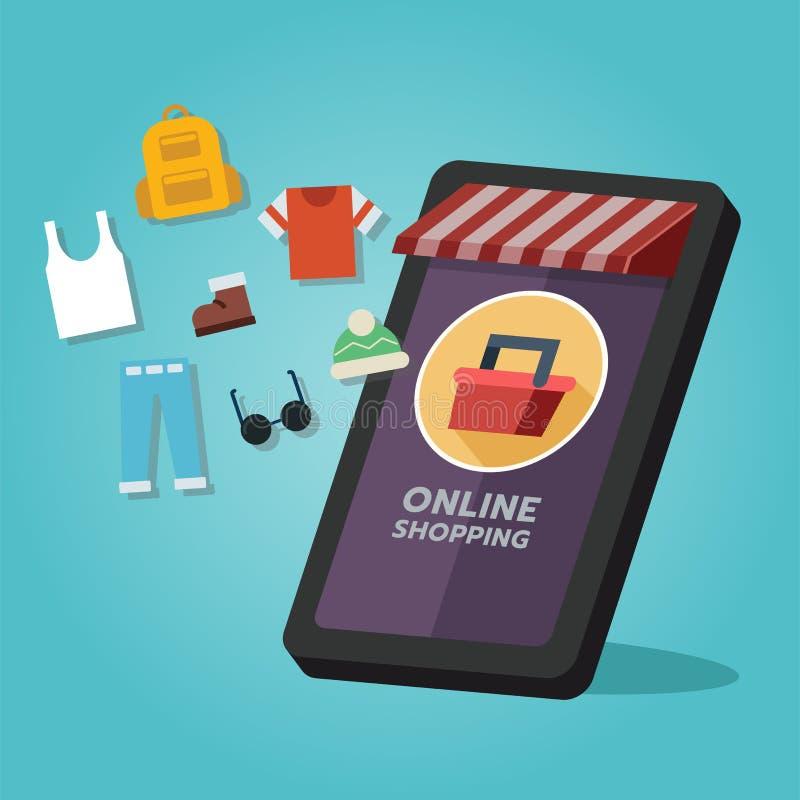 Magasin de achat en ligne, produits de mode Sur l'écran mobile illustration libre de droits