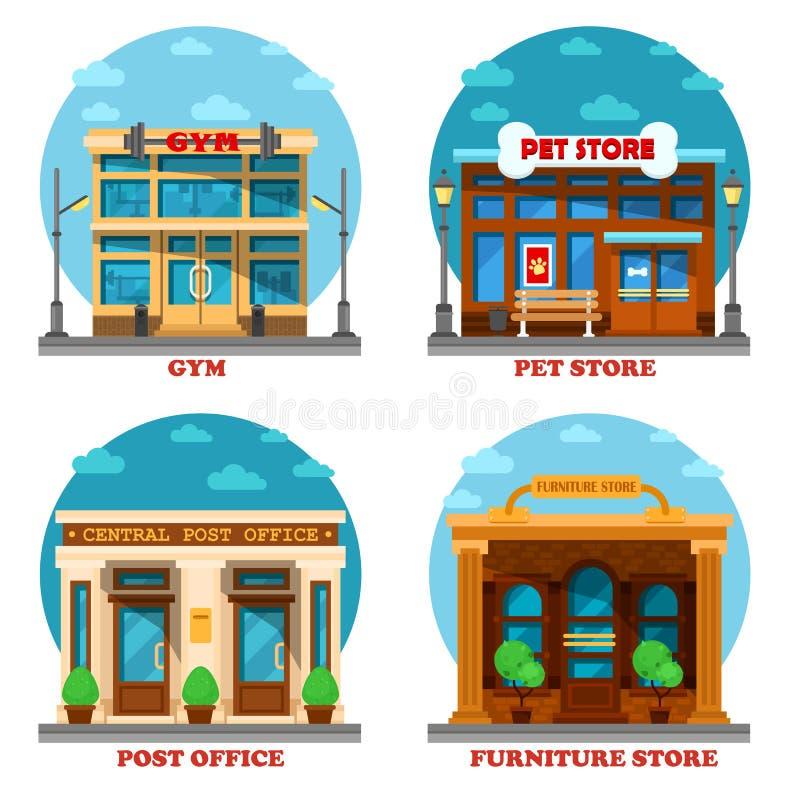 Magasin de bêtes et magasin de meubles, bureau de poste, gymnase illustration stock