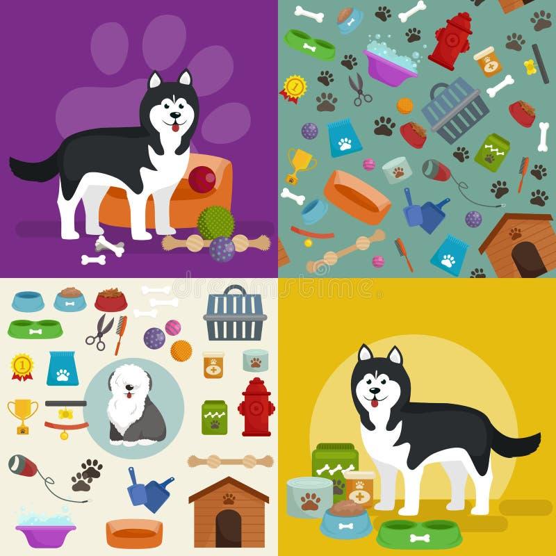 Magasin de bêtes, marchandises de chien et approvisionnements, produits de magasin pour le soin illustration stock
