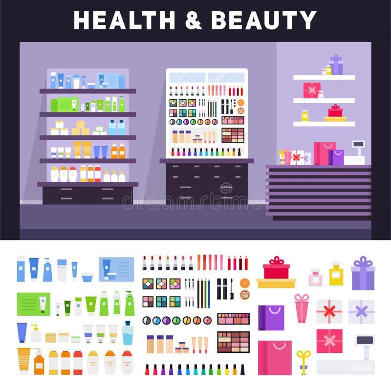Magasin de beauté avec des cosmétiques sur les étagères illustration libre de droits