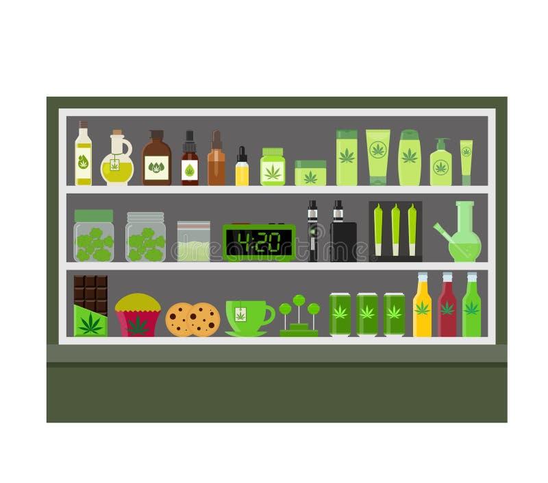 Magasin de cannabis Produits de marijuana illustration stock