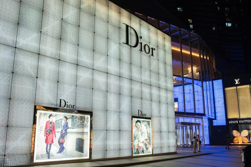 Magasin de détail de luxe de Se de Christian Dior photo stock