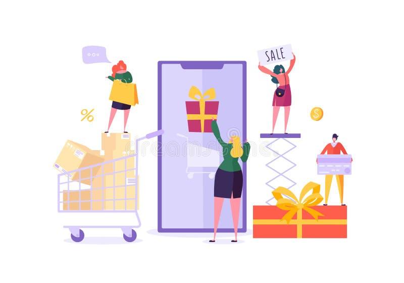 Magasin de femme en ligne utilisant Smartphone Commerce électronique, consommationisme, vente au détail, concept de vente Achat m illustration stock