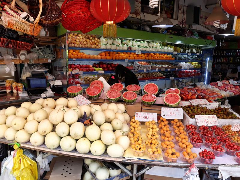 Magasin de fruit en Chine image stock