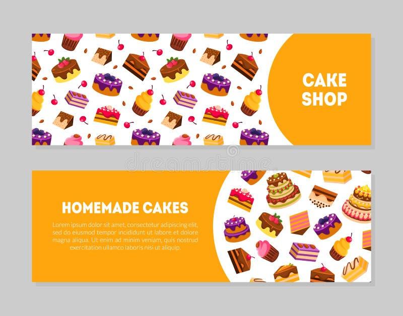 Magasin de gâteau, calibres faits maison de bannière de gâteaux réglés avec les bonbons savoureux et desserts, boulangerie, confi illustration stock