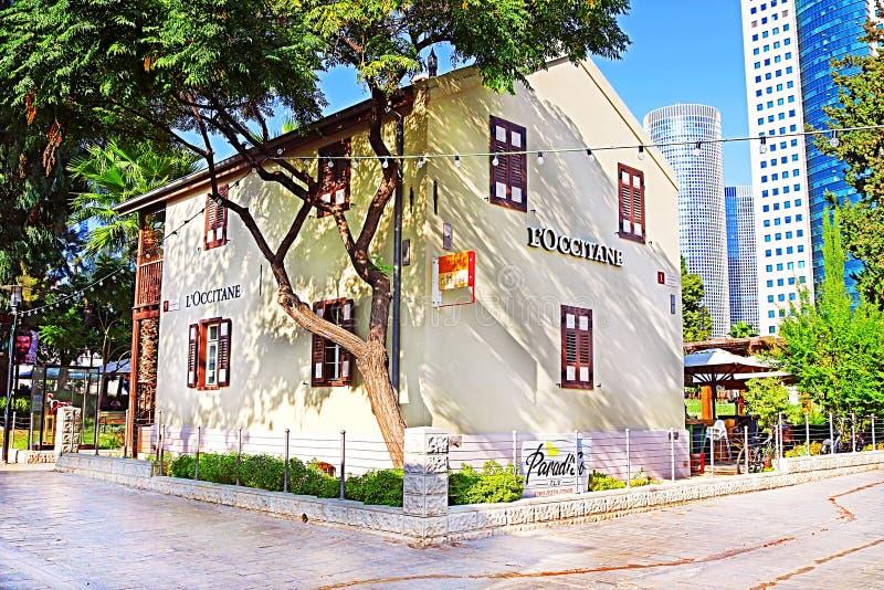 """Magasin de L """"centre commercial d'air ouvert d'Occitane Sarona, Tel Aviv, Israël photographie stock libre de droits"""