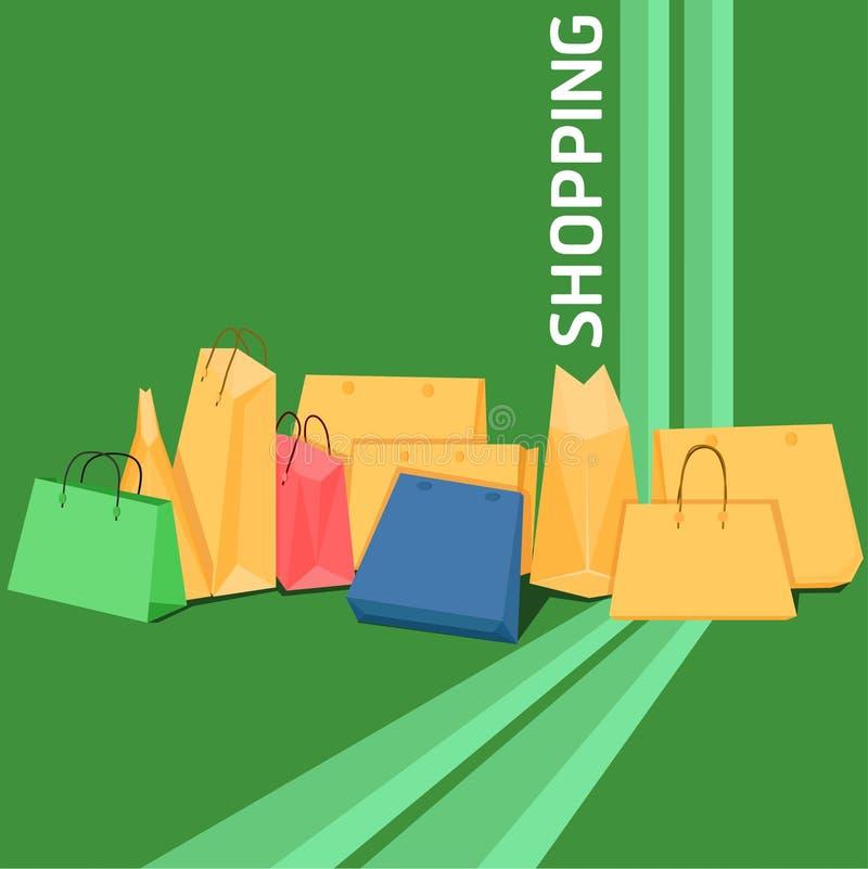 Magasin de paquet heureux de carte de chariot de remise de sac à provisions de la vente 50% 25% beau eps10 illustration libre de droits