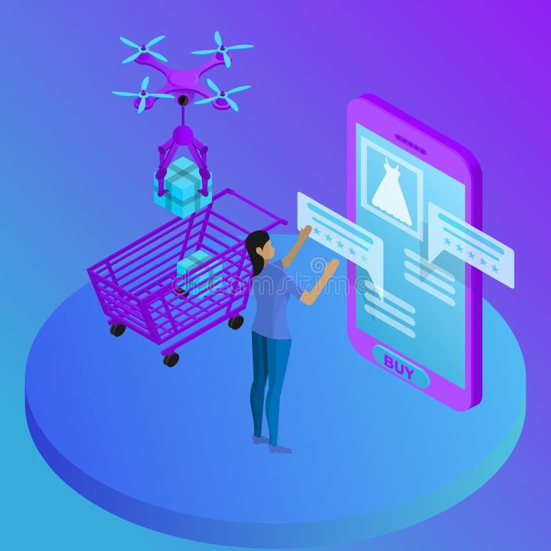 Magasin en ligne dans le mobile, chariot d'examens de produit avec les marchandises achetées, la livraison illustration libre de droits