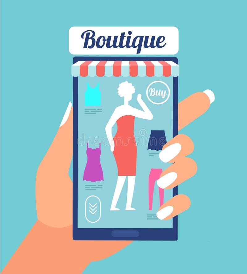 Magasin en ligne de mode Boutique de vêtements APP sur l'écran de téléphone portable Concept au détail mobile de achat de vecteur illustration de vecteur