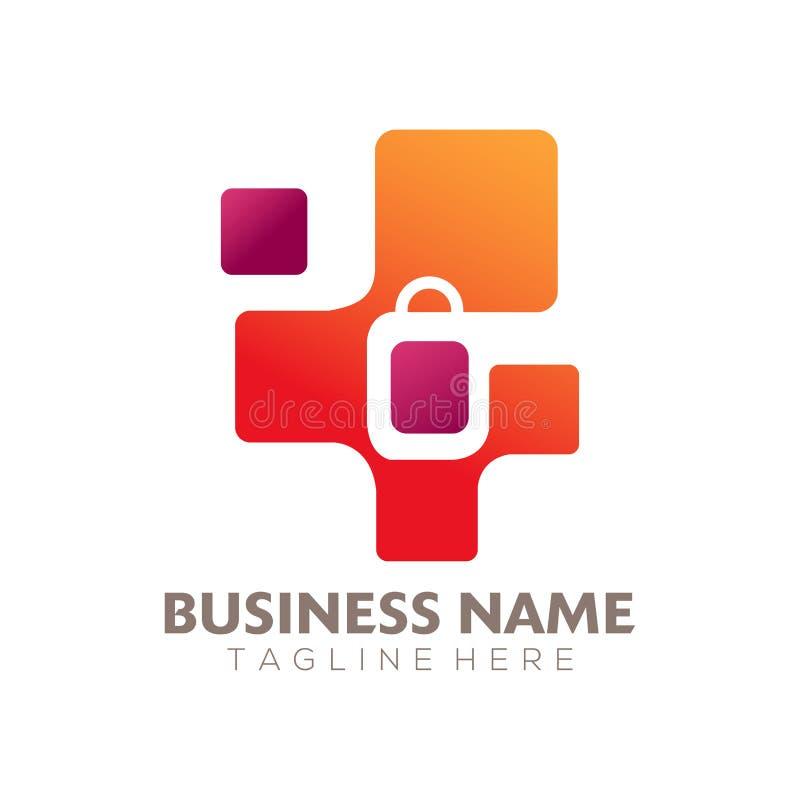 Magasin en ligne, logo de achat et conception d'ic?ne illustration libre de droits
