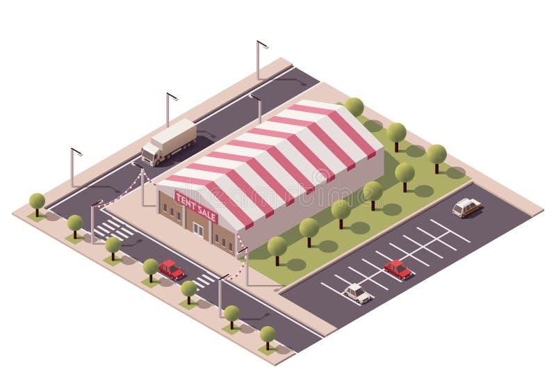 Magasin isométrique de tente de vente de vecteur illustration libre de droits