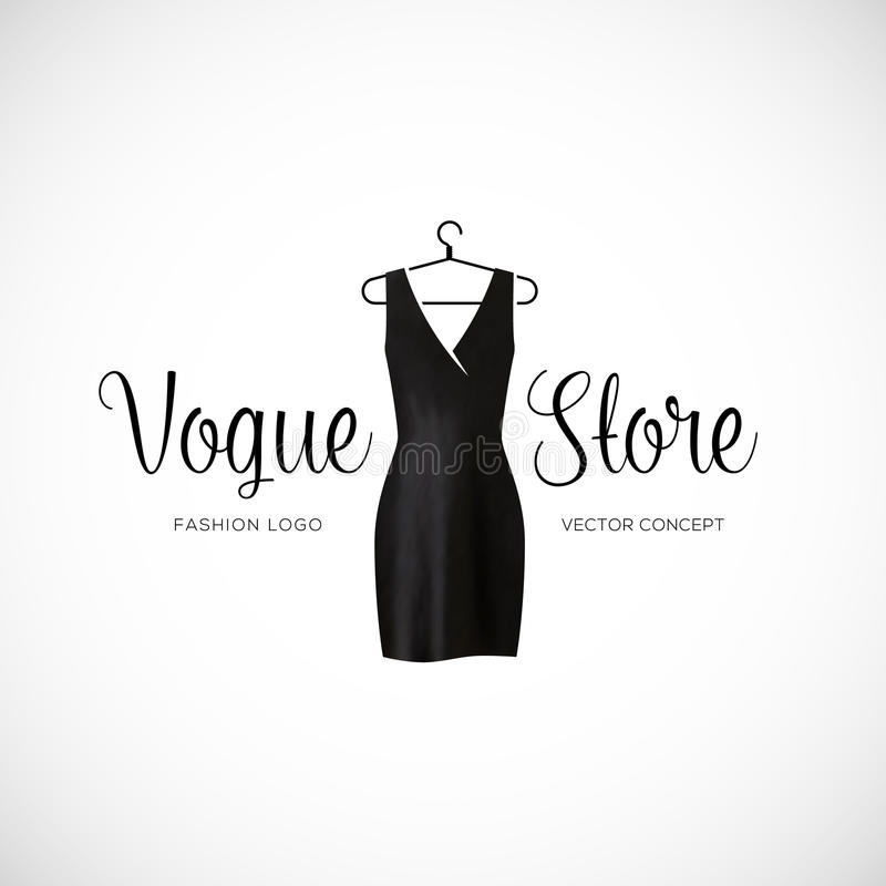 Magasin Logo Template With Black Dress de Vogue de mode illustration stock