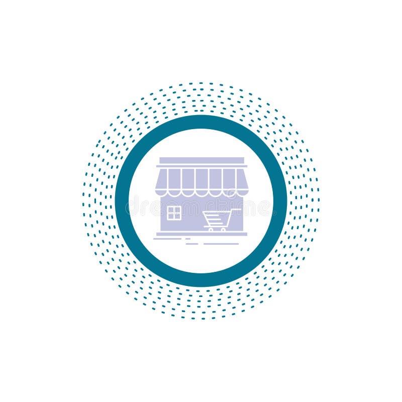 magasin, magasin, marché, bâtiment, icône de Glyph d'achats Illustration d'isolement par vecteur illustration de vecteur