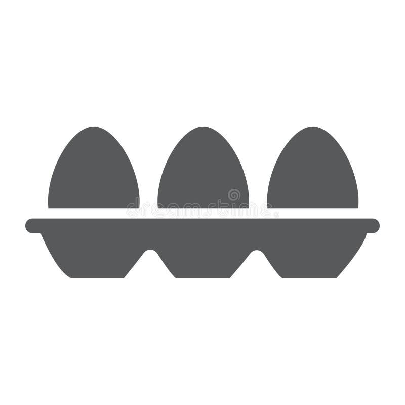 Magasin med äggskårasymbolen, mat och näring, äggbehållaretecken, vektordiagram, en fast modell på ett vitt royaltyfri illustrationer