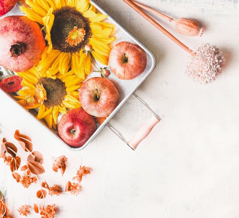 Magasin med äpplen, solrosor och granatäpplet på den vita tabellen med höstsidor och botanisk garnering, bästa sikt Lekmanna- l?g royaltyfri bild